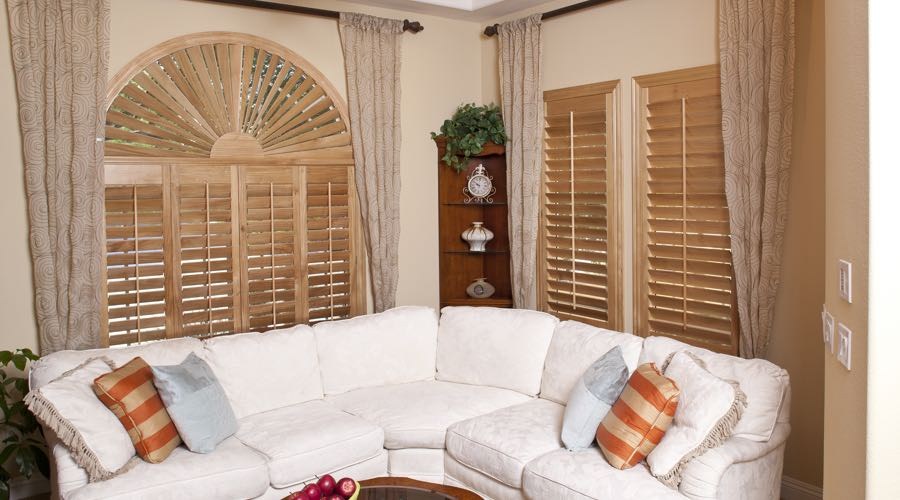 Sunburst Arch Ovation Wood Shutters In Indianapolis Living Room