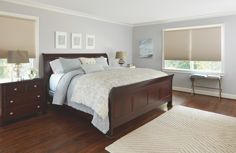 Pull-down shades in a Indianapolis bedroom.