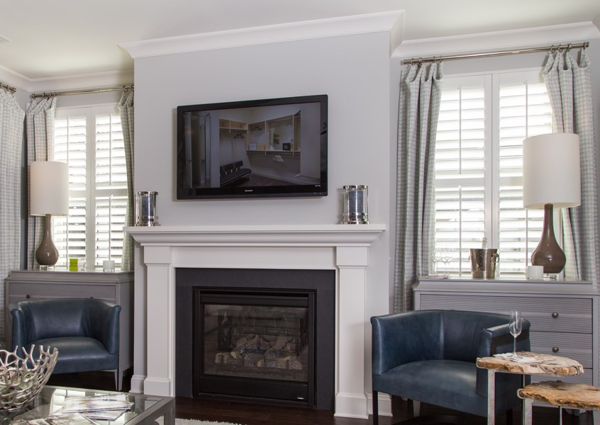 tv room Indianapolis faux wood shutters