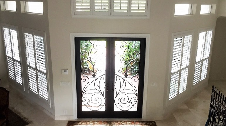 Indianapolis foyer with glass doors and indoor shutters