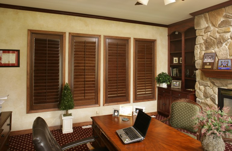 Hardwood plantation shutters in a Indianapolis home office