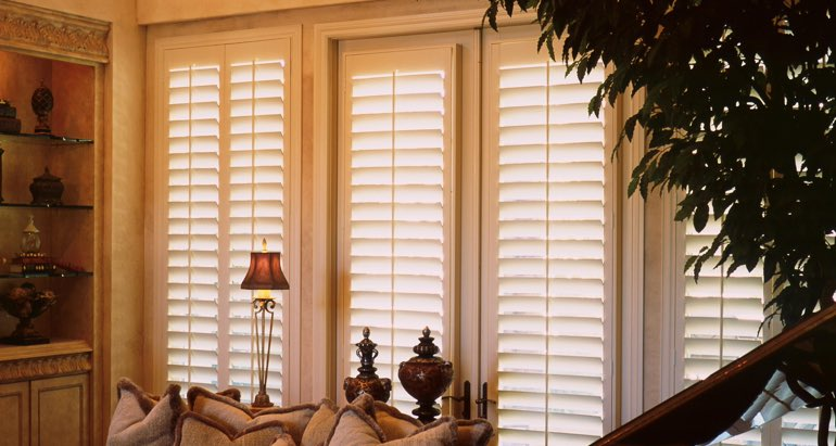 Plantation shutters on french door and window in Indianapolis living room