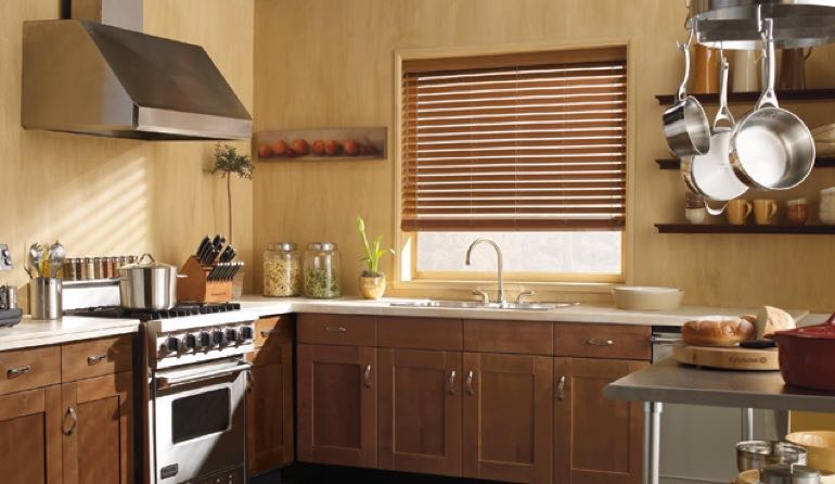 Indianapolis kitchen faux wood blinds.