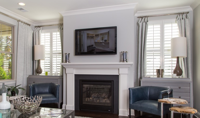 Indianapolis fireplace with white shutters.