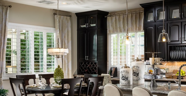 Indianapolis kitchen dining room with plantation shutters.
