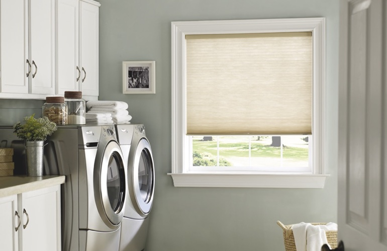 Indianapolis laundry room with tan window shades.