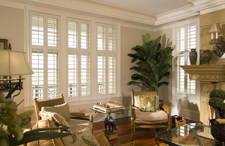 Living Room in Indianapolis with white plantation shutters.