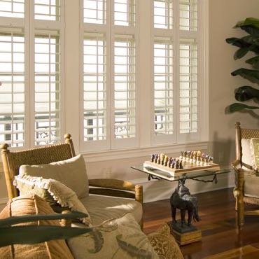 Indianapolis living room interior shutters.