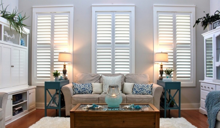 Indianapolis designer living room with chic shutters