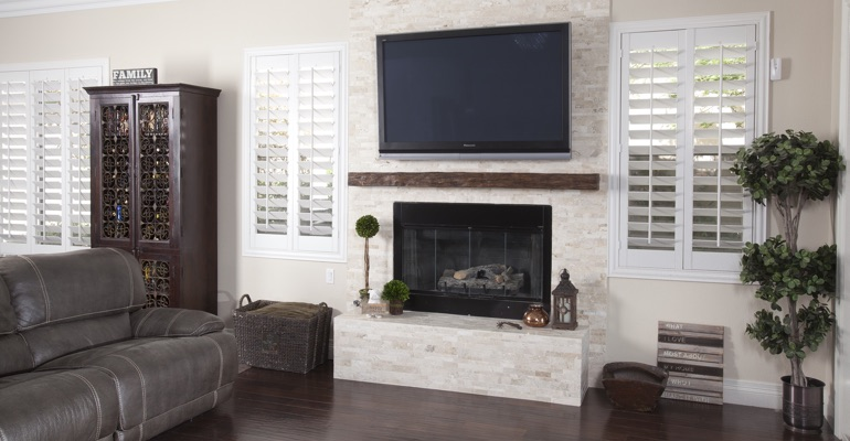 white shutters in Indianapolis living room