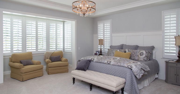 White shutters in Indianapolis bedroom.