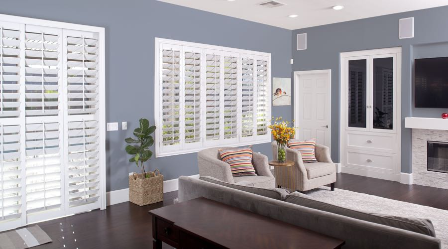 Faux Wood Shutters In blue Indianapolis Living Room