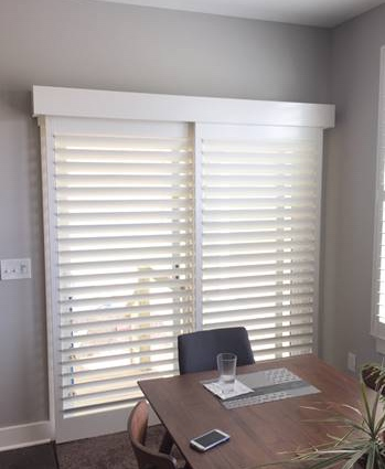 Plantation shutters on sliding door
