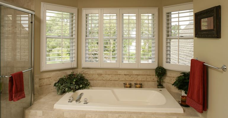 Plantation shutters in Indianapolis bathroom.