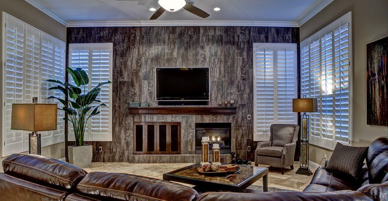 Indianapolis living room with shutters
