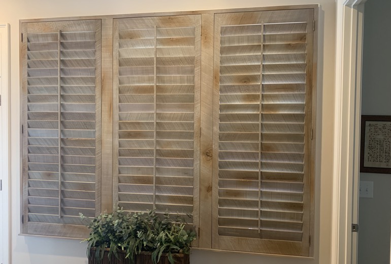 Closed reclaimed wood shutters in Indianapolis
