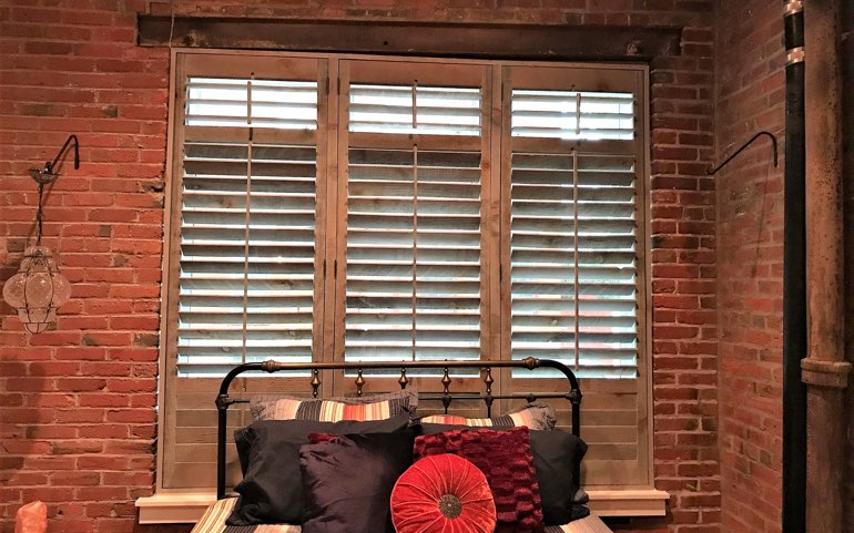 reclaimed wood shutters in Indianapolis apartment