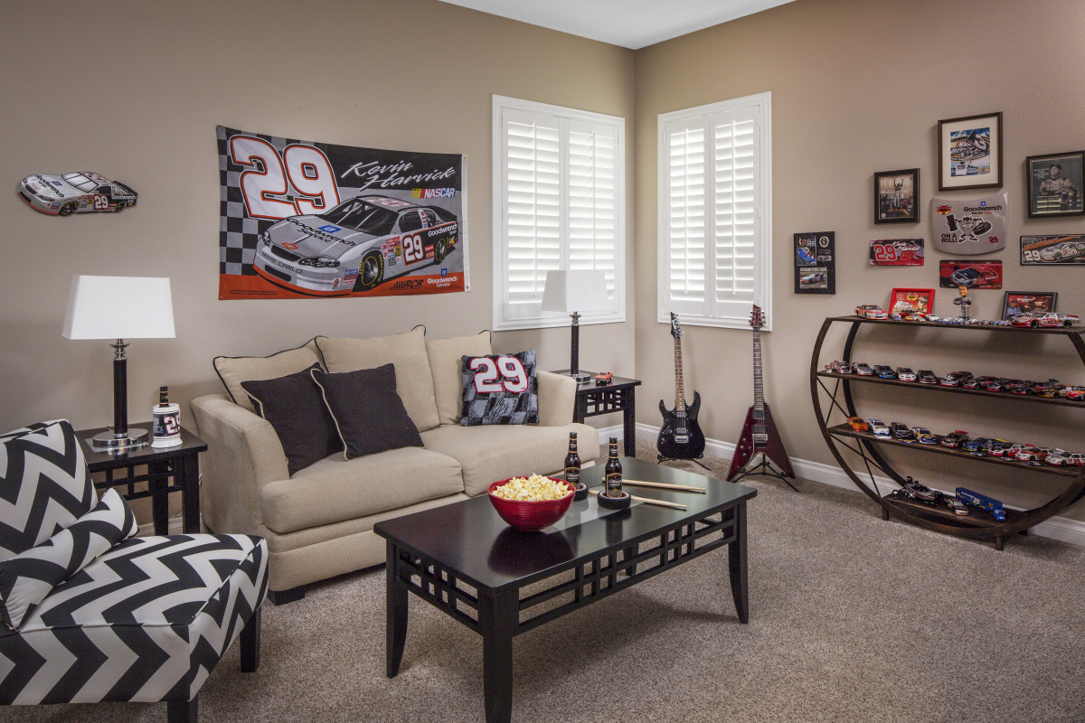 Indianapolis man cave with shutters