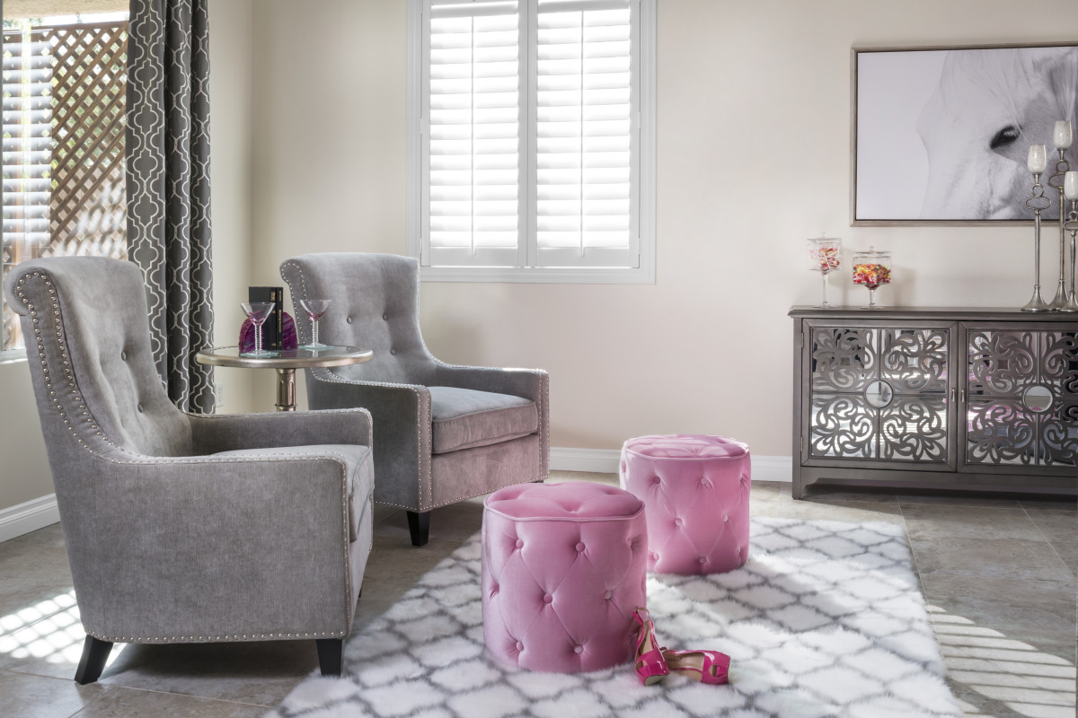 Indianapolis pink living room with shutters