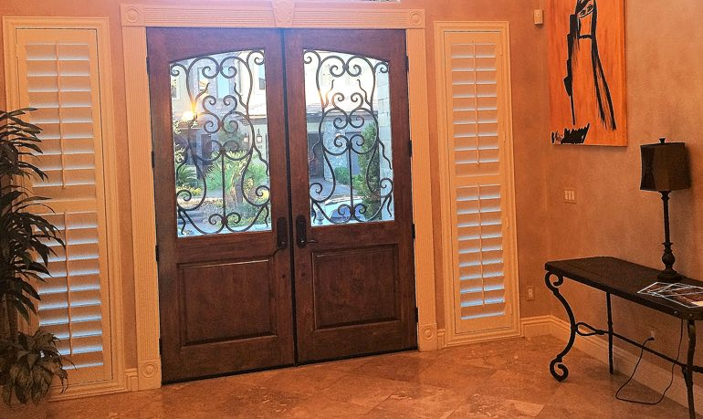 Indianapolis foyer door with shutters