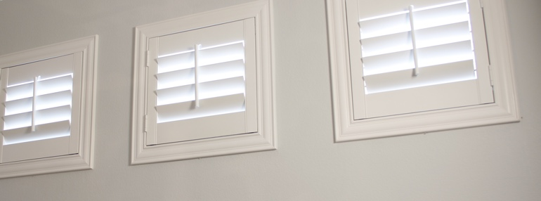 Small Windows in a Indianapolis Garage with Plantation Shutters