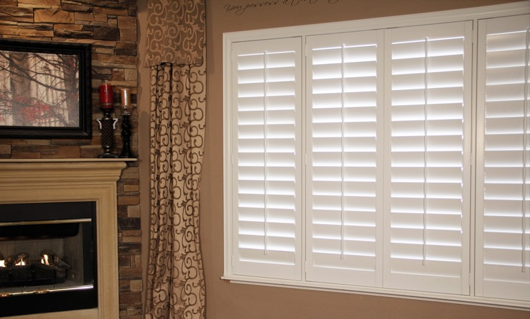 Indianapolis Studio plantation shutters in family room.