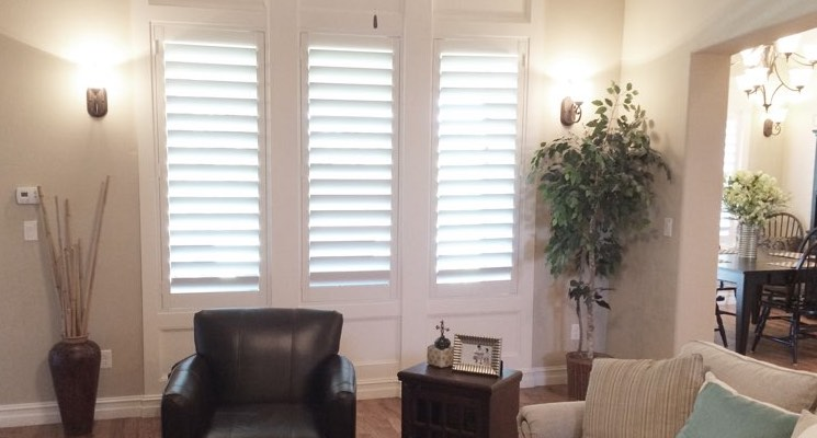 Indianapolis family room white shutters