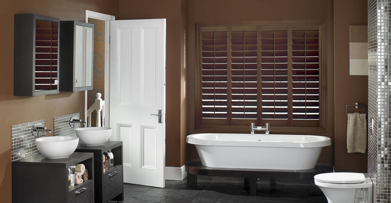 Indianapolis bathroom shutters wood stain