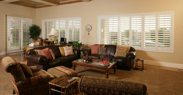 Indianapolis family room with french door shutters.