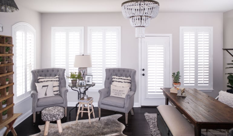 Plantation shutters in a Indianapolis living room