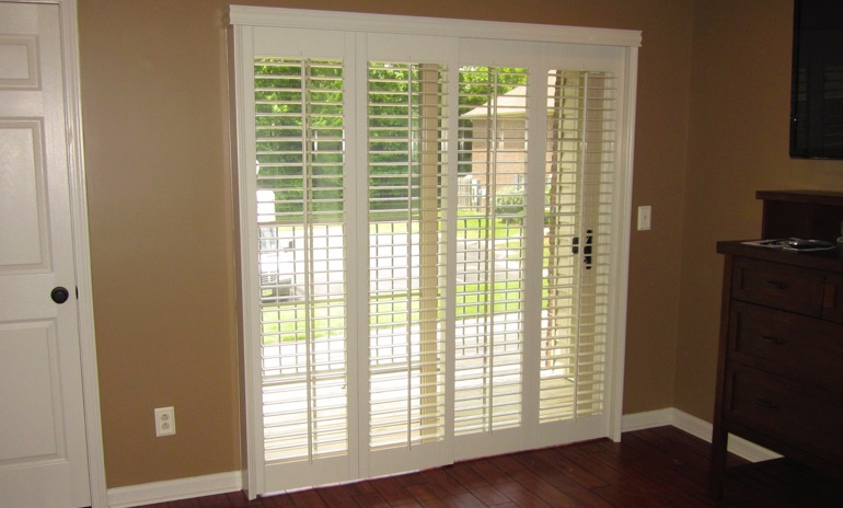 Indianapolis sliding door bifold shutters in foyer