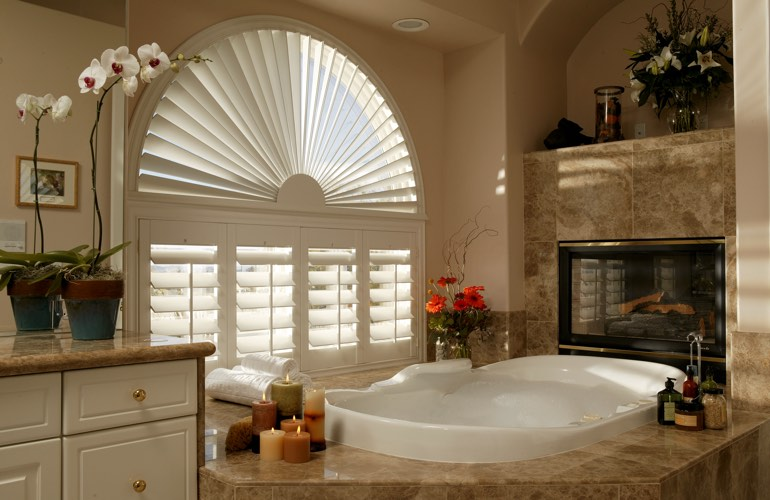 Our Professionals Installed Shutters On A Sunburst Arch Window In Indianapolis, IN