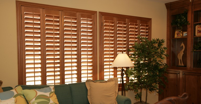 Wood shutters in Indianapolis living room.