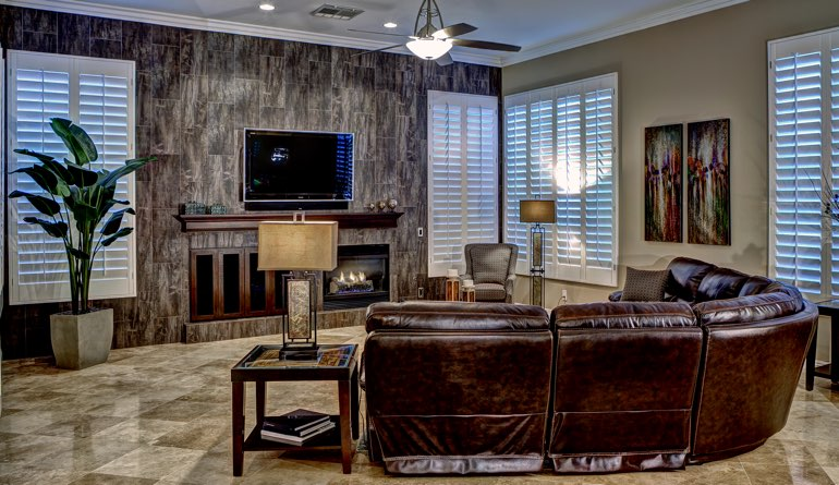 Plantation Shutters In A Indianapolis Living Room.