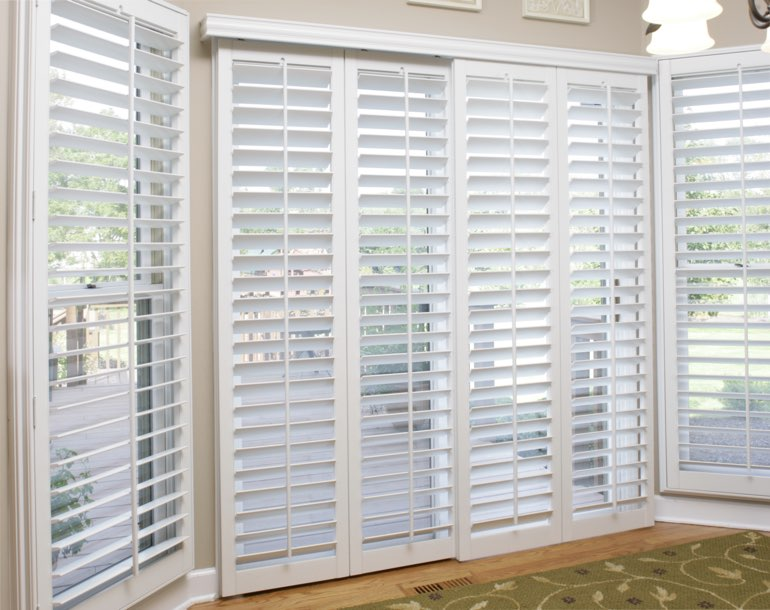 Sliding glass door with plantation shutters Indianapolis